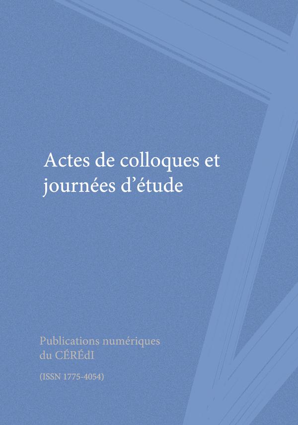 Actes De Colloques Et Journées Détude Issn 1775 4054